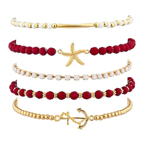 Lux Accessories Red Nautical Starfish Anchor Arm Candy Set (5PC)