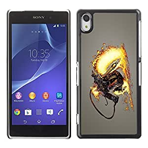 GagaDesign Phone Accessories: Hard Case Cover for Sony Xperia Z2 - Flamethrower Skeleton Warrior