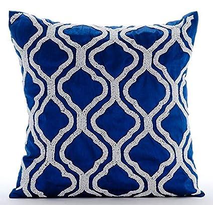 Amazon.com: Royal Blue Throw Pillows Cover, Beaded Lattice ...