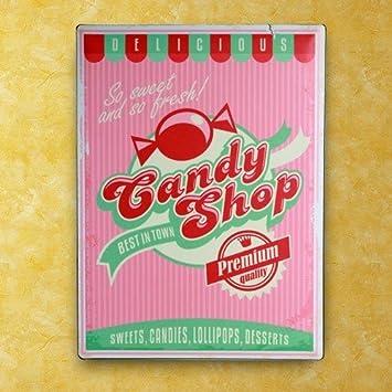 Amazon.com: Cartel de Chapa Candy Shop 30 x 40 cm: Home ...