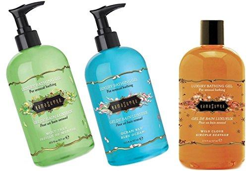 Kama Sutra MINT TREE+OCEAN BLU+WILD CLOVE Luxury bathing gel transforms a simple bath or shower into a sensual experience - Size 17.5 fl oz / 517 ml. (Pack of (Kama Sutra Luxury Bath Gel)