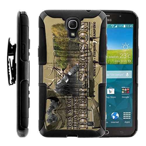 TurtleArmor | Compatible for Samsung Galaxy Mega 2 Case [Hyper Shock] Hard Reinforced Rugged Impact Hybrid Cover Belt Clip Holster Kickstand - Deer Hunting - Att Samsung Mega Galaxy Cases