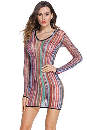 Women's Sexy Lingerie Stripe Fishnet Chemise Dress,Swimsuit Cover-up