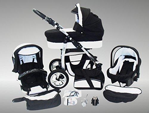 Chilly Kids Dino Kinderwagen Ganzjahres-Set (Winterfußsack, Sonnenschirm, Autositz & Adapter, Regenschutz, Moskitonetz, Getränkehalter, Schwenkräder) 01 Schwarz & Weiß