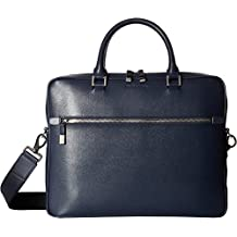 BUGATCHI Mens Saffiano Leather Two-Tone Briefcase