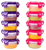 baby bottles for solid food - Elacra Baby Food Storage Freezer Containers BPA-Free Airtight Small Plastic Set of 10-3.4 Ounce Pink and Purple
