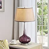 Table Lamp 1 Light Stylish Reading Light Table Lighting H 30 x L 16 x W 16 inches Reading Lamp Round Night Light Purple Base Grey Linen Shade + Bonus Free eBook Lighting Trends Review