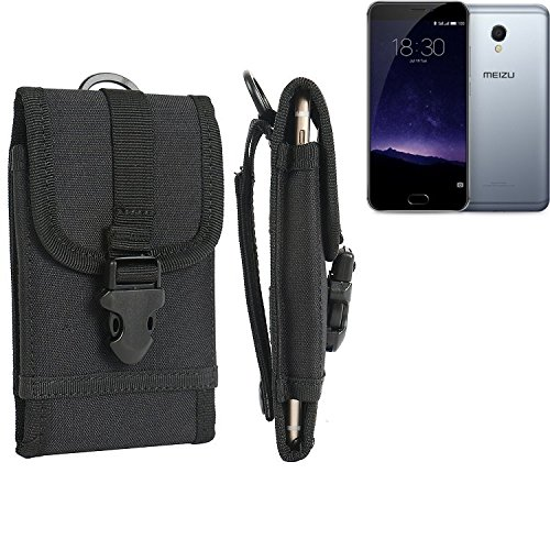 bolsa del cinturón / funda para Meizu MX6, negro | caja del teléfono cubierta protectora bolso - K-S-Trade (TM)