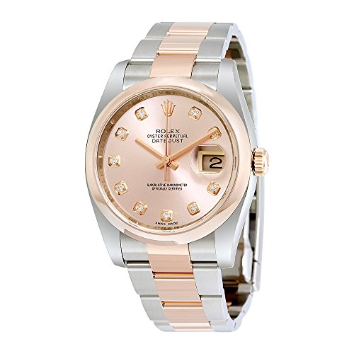 Rolex Datejust Pink Diamond Dial Steel and 18K Everose Gold Mens Watch 116201PDO