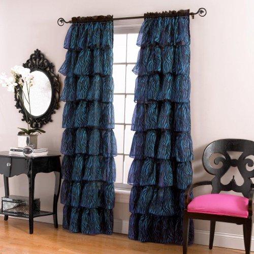 Lorraine Home Fashions Gypsy Zebra Ruffle Window Panel  60 By 84 Inch  Blue Black