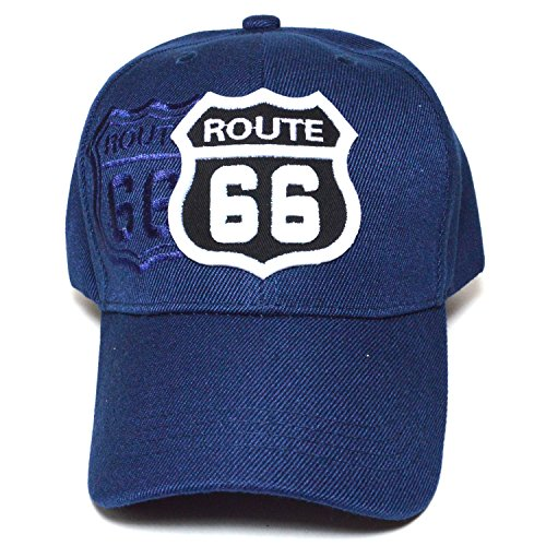 Route 66 Embroidered Curved Visor Hat Durable Golf Baseball Adjustable Fashion Cap (Navy) (Route 66 Visor)