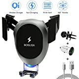 Wireless Car Charger, BOSLISA Qi Gravity Charger Car Mount, Air Vent Phone Holder, QC3.0 Fast Charging Compatible for iPhone X/8/8 Plus/Samsung Galaxy S9/8/7/Note 8,and More Qi Phones (Grey)
