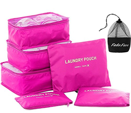 Travel Luggage Organizer Packing Cubes,6 Pcs Travel Essential Bags in Bag, Waterproof Laundry Toiletry Cosmetic Storage Bag Zipper Carry-on Suitcase Organiser Shoes Bag, Set of 6 (Rose Red) ()