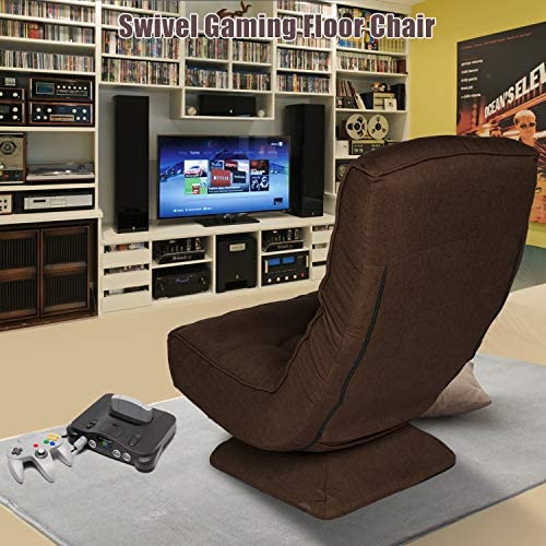 360 Degree Swivel Gaming Chair with Pillow,Folding Floor Gaming Chair Adjustable Backrest 250lb,Comfortable Floor Chair Lazy Sofa Chair,Soft Padded High Back No Arms