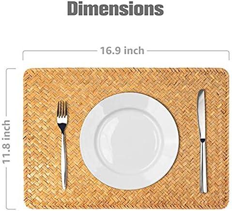Huante 6 Pezzi di Tovagliolo Rettangolare nel Rattan Intrecciato Naturale Tovaglietta per t/è Tovagliolo Tovagliolo da Picnic per Tavolo da Pranzo e Tavolo da Cucina