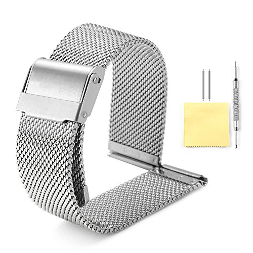 Band Watch Mm 10 (Milanese Mesh Watch Band 4 Color(Gold,Sliver,Black,Rose Gold) 12 Size(10mm,12mm,13mm,14mm,15mm,16mm,17mm,18mm,19mm,20mm,21mm,22mm))
