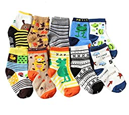 Newcreativetop 10 Pairs Anti-slip Assorted Kids Baby Socks Boys Toddler Walkers