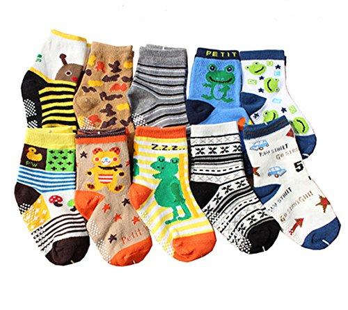 Newcreativetop 10 Pairs Anti-slip Assorted Kids Baby Socks Boys Toddler Walkers