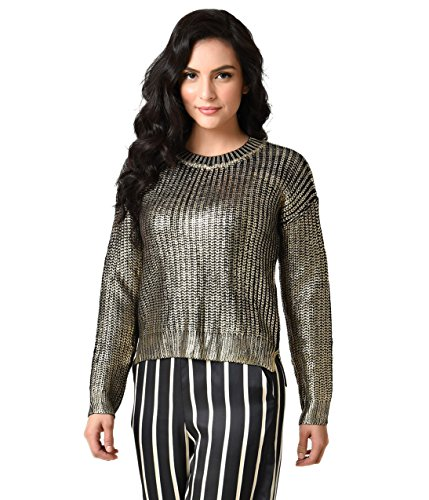 - Unique Vintage Retro Style Black & Gold Metallic Long Sleeve Janet Knit Sweater