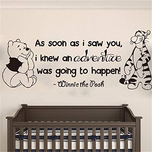 Winnie Pooh & Tigger Wall Sticker As Soon As I Saw You Quote Nursery Kid Bedroom Wall Decal Decal for Baby's Room]()