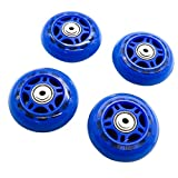 HUELE 4 Pcs Inline Skate Replacement Wheels Roller Wheels with Bearings Blue 2.75 Inch