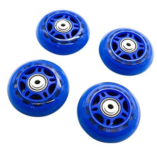 HUELE 4 Pcs Inline Skate Replacement Wheels Roller Wheels with Bearings Blue 2.75 Inch by HUELE