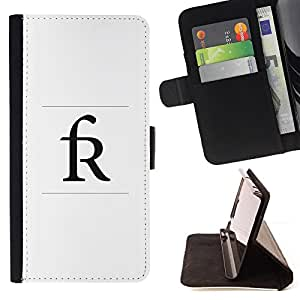 BullDog Case - FOR/HTC DESIRE 816 / - / R initial poster letter name Rick Randy /- Monedero de cuero de la PU Llevar cubierta de la caja con el ID Credit Card Slots Flip funda de cuer