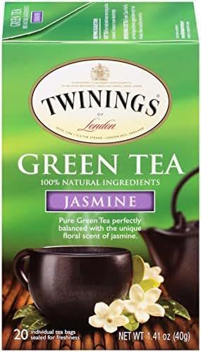 Twinings of London Jasmine Green Tea Bags, 20 Count (Pack of 6)