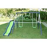 Swing N Slide Glider Metal Playset For Kids Swing Set Playground Swingset Outdoor Playsets Swings Play Slide Outside Toys Play Set Blue Green NEW