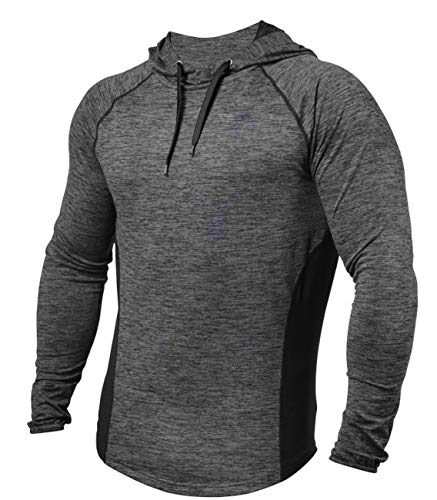 PAIZH Men's Workout Hoodies Dry Fit Outdoor Lightweight Pullover Hooded Tops (L, Deep Grey)