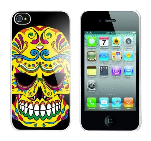 Iphone 4 Case Flower Skull Rahmen weiss