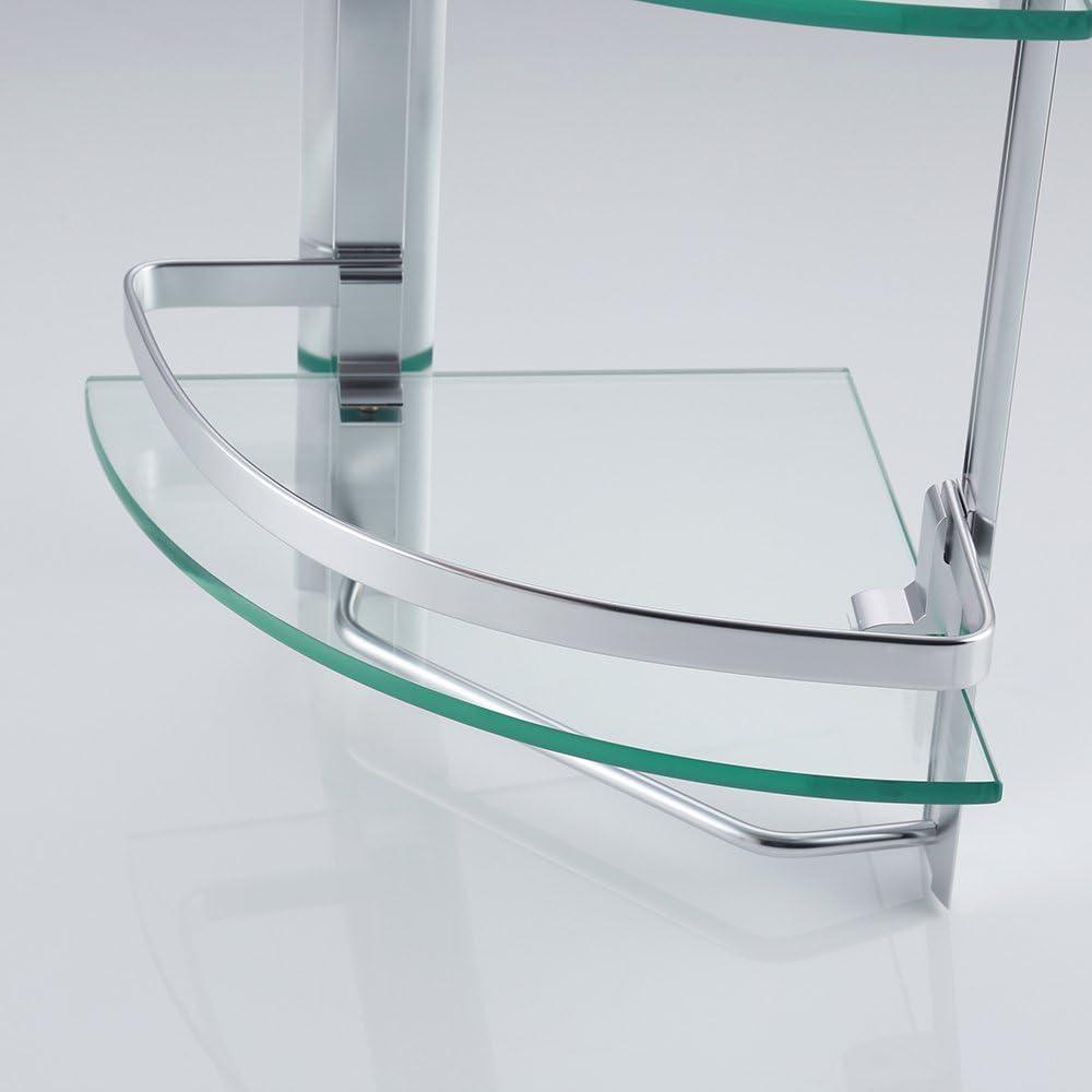 UMI Essentials Bathroom Glass Corner Shelf with Towel Bar 2-Tier Wall Mounted Extra Thick Tempered Glass Aluminum Silver Sand Sprayed A4123B