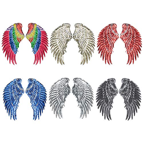 Calculs 6 Pair Sequin Patches Angel Wings Iron On Patch DIY Embroidered Applique Bling Wings for Jackets Bags Decoration Valentine's Day Gifts