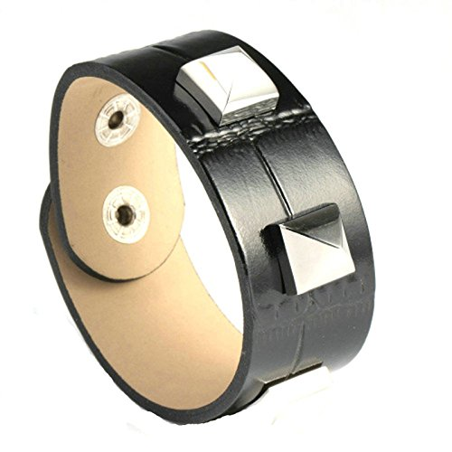 (Gnzoe Men's Leather Bracelet Stainless Steel Retro Leather Black)
