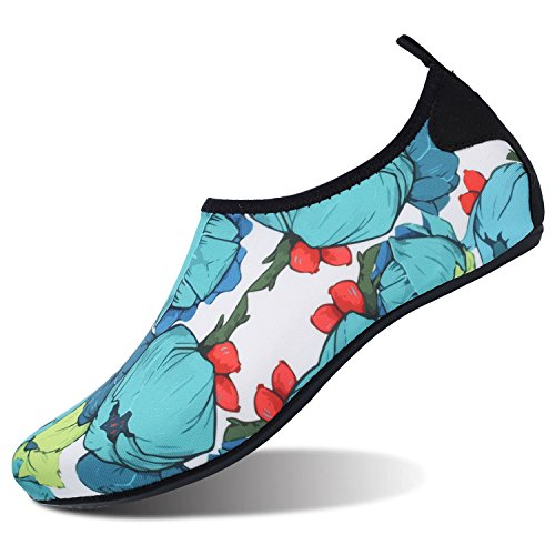 L-RUN Womens Mens Water Shoes Barefoot Skin Aqua Shoes Athletic Swim Shoes Outdoor Blue Flower