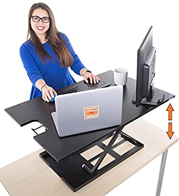 Standing Desk X-Elite – Stand Steady Standing Desk | X-Elite Version, Instantly Convert Any Desk into a Sit / Stand up Desk, Height-Adjustable, Fully Assembled Desk Converte from Stand Steady