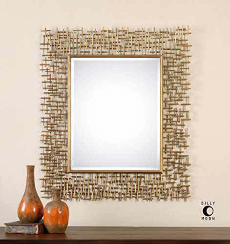 Abstract Modern Gold Wall Mirror |Contemporary Vanity Art
