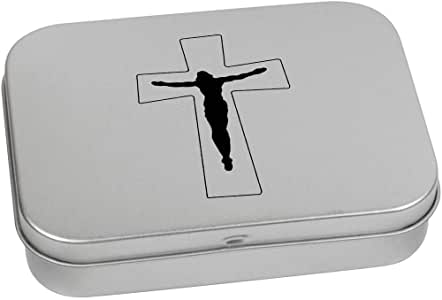 110mm 'Crucifix' Metal Hinged Tin / Storage Box (TT00131040)