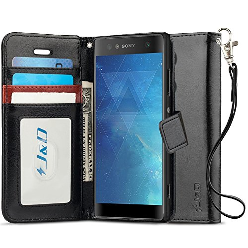 J&D Case Compatible for Xperia XA2 Ultra Case, [Wallet Stand] [Slim Fit] Heavy Duty Shock Resistant Flip Cover Wallet Case for Sony Xperia XA2 Ultra Wallet Case - [NOT for Sony Xperia XA2] - Black (Sony Xperia J Case)