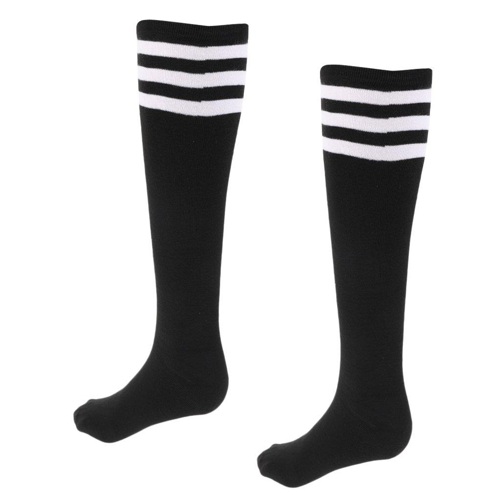 Gazechimp Calcetines de Piernas de Fútbol de Mujeres Estiramiento Más Largo Rodilla de Algodón Protección Ultravioleta - M Negro + Rayado