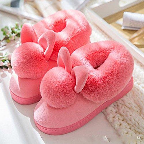 Winter High-Heeled Ball Baumwolle Hausschuhe Weibliche Dicke Rutschfeste Heimtextilien Schuhe,B,44-45