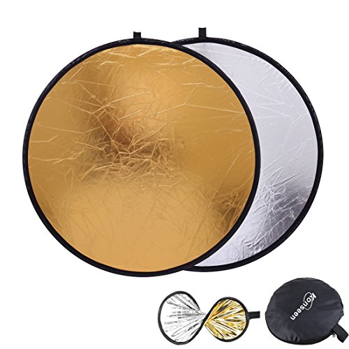 Light Bounce Reflector 32inch (80cm) Round Collapsible Sun Reflectors Diffuser Gold and Silver 2 in 1 for Photography Camera Flash Lighting Photo Shooting by Konseen
