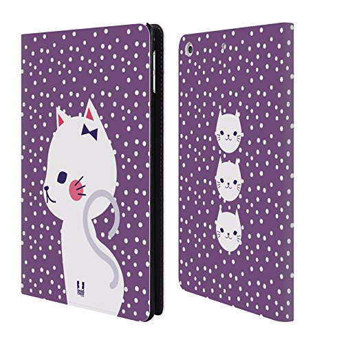 Purple Mini Dot (Head Case Designs White Cat In Purple Cats And Dots Leather Book Wallet Case Cover For Apple iPad mini 4)