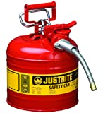 """Type II AccuFlowTM Steel Safety Can for flammables, 2 gal., S/S flame arrester, 5/8"""" metal hose"""