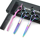 5.5 Inches Hair Cutting Scissors Set with Razor Combs Lether Scissors Case,Hair Cutting Shears Hair Thinning Shears for Personal and Professional (Raibow)