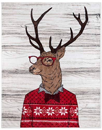 Safdie & Co. Flannel Printed Ribbed 50x60 Deer Ultra Soft Throw, Multi Color
