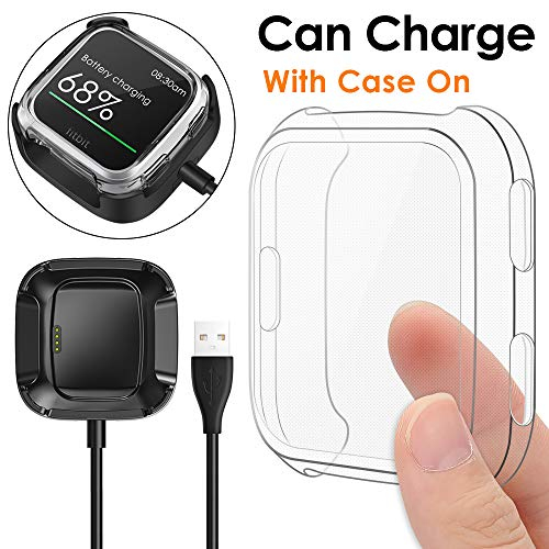 KIMILAR Screen Protector Case Charger Compatible Fitbit Versa Smartwatch, TPU Plated Full Coverage Bumper Replacement case Unique Charger Dock Charging Cable (Can Charge Case On) Clear by KIMILAR