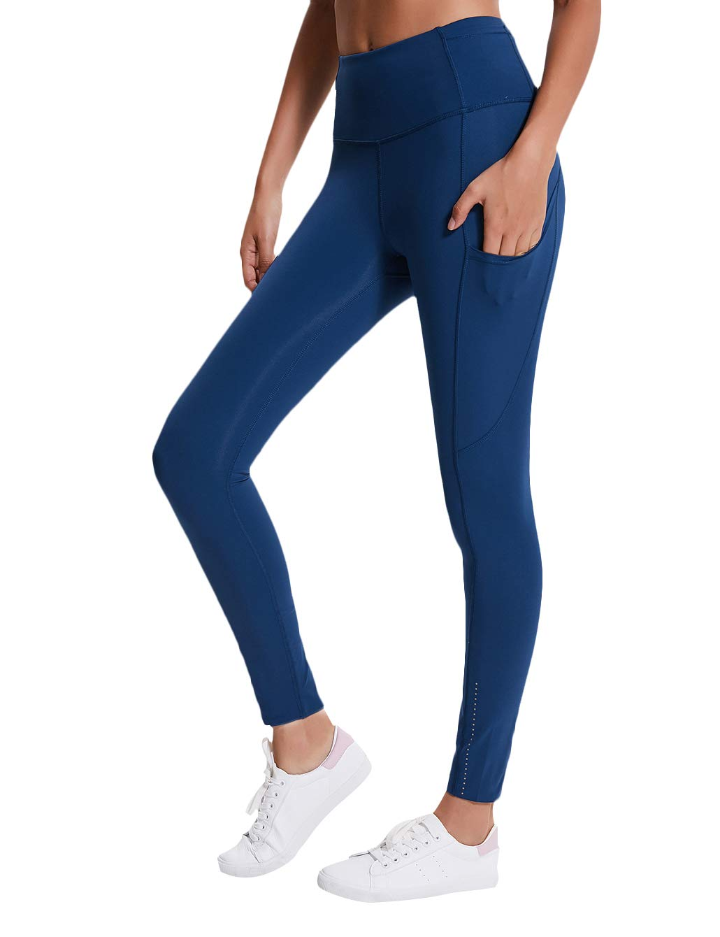 AJISAI Women High Waist Leggings with Pockets,Tummy Control Workout Running Stretch Yoga Pants Color Light Navy Size M