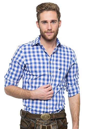 OS-Trachten Herren Trachtenhemd Nico blau/weiß H040062 40