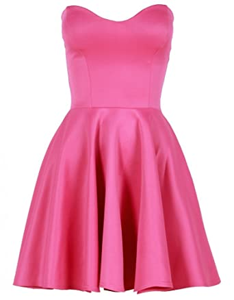 e68fd7a131145 Womens Hot Pink Boob Tube Flare Dress: Amazon.co.uk: Clothing